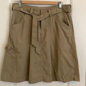North Face classic a-line cargo khaki skirt